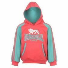 LONSDALE LONDON Kids Hoodie Hoody Jumper Top Pink/Green