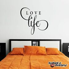 Love Life Vinyl Wall Decal Quote home decor word art inspirational sticker L013
