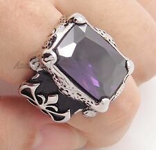 Silver Dragon Claw Amethyst Purple CZ 316L Stainless Steel Ring Size 8-13
