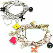 PLATED SILVER GOLD RIBBON TWISTED STAR FLOWER BEADS HEART HANGED CHAIN BRACELET
