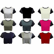 LADIES WOMENS PLAIN JERSEY CROP TOP ROLLED UP WET LOOK PVC FAUX LEATHER SLEEVE