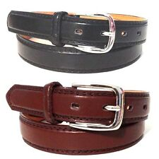 "NEW MENS LEATHER 1"" INCH DRESS BELT BLACK BROWN SIZE S MEDIUM LARGE XL FREE SHIP"