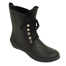 BLACK LACE-UP GARDEN WELLIE WELLINGTON FESTIVAL RAIN WALKING BOOTS SIZE UK 3-8
