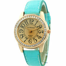 NEW Fashion Classic Crystal Leather Womens Wrist Watch Ladies Quartz Dial Analog