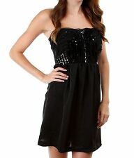 WOMENS CLOTHING SEXY BLACK SILK STRAPLESS DRESS WITH SEQUIN BODICE