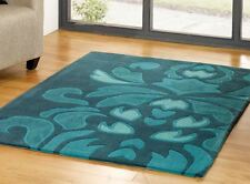 Teal Blue Floral Flower Pattern Soft Touch Acrylic Pile Rug - 3 Large Sizes