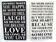 WOODEN BOXED WALL PLAQUE SIGN VINTAGE CREAM BLACK WORDS HOME GIFT DECOR CHIC