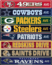 "NFL Football Street Sign Ave 4"" x 24"" Choose Your Favorite Team"
