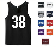 Number 38 Thirty Eight Sports Number Jersey Tank Top Front Print