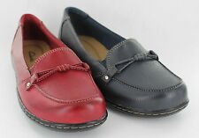 Ladies Clarks Shoes Navy or Red Leather Sixty Seaway