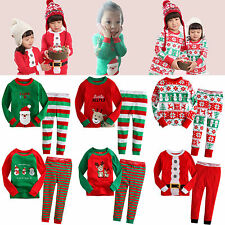 "NWT Baby Toddler Kid Girl Boy Clothes Santa Christmas Sleepwear Set""Merry X-Mas"""