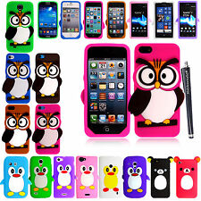FOR VARIOUS PHONES NEW CARTOON STYLE SILICONE GEL BACK CASE COVER +GUARD +STYLUS