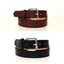 NEW MENS LEATHER 1 1/4 INCH DRESS CASUAL BELT BLACK BROWNS SILVER BUCKLE #0002