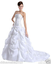 FairOnly White Taffeta Wedding Dress Empire Bridal Gown  Size 6 8 10 12 14 16