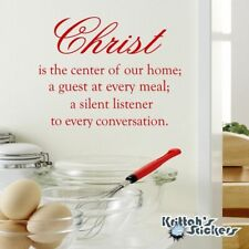 Christ Is The Center of Our Home; Vinyl Wall Decal religious quote sticker L060