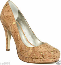 ALFANI MADDY GOLD WOMENS SUEDE PEEP TOES PUMPS, LADIES HIGH HEEL PLATFORM SHOES!