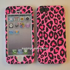 Cute Pink Leopard Fullbody front back hard case cover for iphone 7 6 6S plus 5s