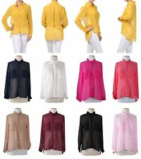 Career Sheer Long Sleeve Hi-Low Hem Button Down Chiffon Shirt Blouse Casual