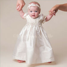 "Baby Beau & Belle ""Jessica"" Girls Silk Christening and Baptism Dress"