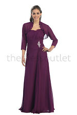 Long Strapless Bolero Jacket Mother of the Bride Groom Wedding Formal Gown Dress