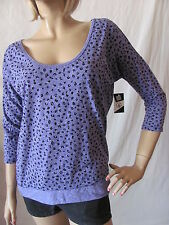 New VOLCOM Womens Jrs Blue Scoop Printed Moclove 3/4 Sleeve Knit Top T Shirt $27
