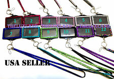 Rhinestone Bling Bling Crystal Lanyard Cell Phone + Horizontal ID Badge Holder