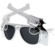 Novelty Gun Sunglasses Chrome 2nd Amendment Revolver Pistol NRA Arms Party Fun
