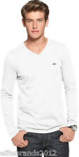 Lacoste Long Sleeve Pima Jersey V-neck T-shirt TH1370 White New With Tags