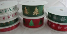 2M x CHRISTMAS XMAS RIBBON CAKE GIFT CRAFT RED GREEN GOLD 40MM 24MM 15MM WIDE