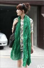 WO US Women Pure Candy Colour  Long Crinkle Soft Scarf Wrap Voile Wraps Shawl