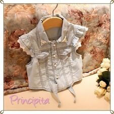 GIRLS Excellent Quality Korean Style Denim Pearl Brodery Sleeve Shirt