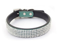 Green Leather Collars Bling Rhinestone Crystal Diamond Pet Dog Cat Puppy Collars