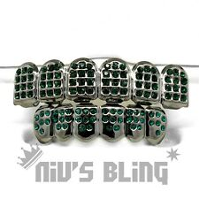 Iced Out Gunmetal GRILLZ GREEN CZ Premium Tooth Mouth Teeth Caps Hip Hop Grills