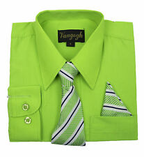 BOYS LIME GREEN LONG SLEEVE DRESS SHIRT WITH MATCHING TIE (NEW, Sizes 4 - 20)