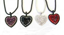 Purple Black Red Crystal Heart Necklace Pendant Fancy Dress Eve Party Jewellery