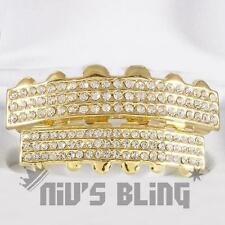 Iced Out 14k Gold GRILLZ 6 Rows of CZ Bling Tooth Mouth Teeth Caps HipHop Grills