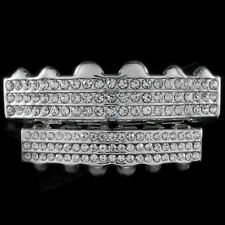 Iced Out Silver GRILLZ 6 Rows of CZ Bling Tooth Mouth Teeth Caps Hip Hop Grills