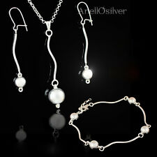 New 925 Sterling Silver Set with Silver Balls, Earrings, Pendant, Bracelet
