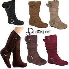 NEW Womens Shoes Mid Calf Boots Foldable Comfort Casual Flat Round Toe Slouch
