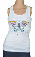 Just Add Sugar Womens Tank Beautiful Butterfly White Grey Top Summer RRP $35.95