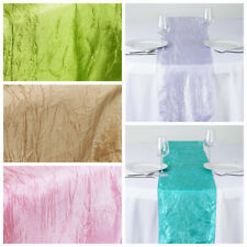 "20 pcs 12x108"" Taffeta Crinkle Table Top Runners Wedding Catering Decorations"