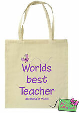 Personalised printed teacher cotton tote bag! Ideal christmas gift! Worlds best!