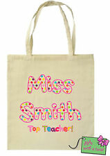 Personalised printed teacher cotton tote bag Ideal christmas gift! Spotty design