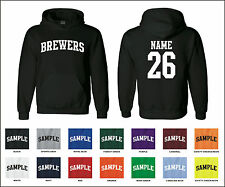 Brewers Custom Personalized Name & Number Adult Jersey Hooded Sweatshirt