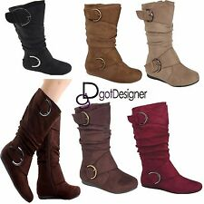 NEW Womens Mid Calf Foldable Slouch Boots Comfort Casual Flat Shoes Round Toe