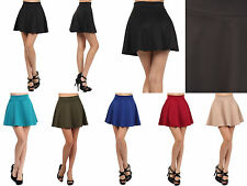 Sexy High Waist Short Jersey Plain Flared Pleated A-Line Skater Mini Skirt Cute