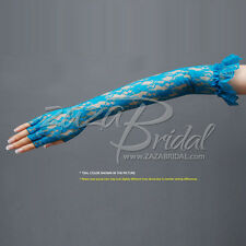Lovely Flower Pattern Half Finger Lace Gloves with elastic Ruffle12BL