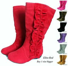 New Girl's Kid's Toddler Cute Zipper Flat Heel Mid Calf Slouchy Boot size 8 - 3