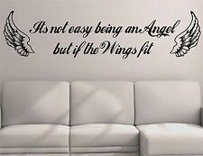 """It's not easy being an Angel but if the wings fit"" WALL STICKER QUOTE MURAL ART"