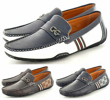 New Mens Leather Look Designer Inspired Slip On Loafers Shoes UK 6 7 8 9 10 11